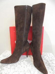 Vintage Country Road Brown Suede Boots pointed toes Stiletto Heel Size 9 or 40