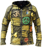 Yellow Stonewashed Funky Jacket Gothic Cotton Light Men's Elf Pointed Hoodie