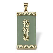 PalmBeach Jewelry Green Jade 14k Yellow Gold Prosperity/long Life/luck Pendant