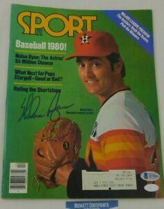 Nolan Ryan Signed Sport Magazine Cover April 1980 MLB Astros Rangers HOF BAS COA