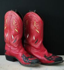 Vintage ACME Red Leather Cowboy Boots Womens 7 - Red Yellow White Inlay Festival