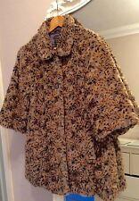 "River island gorgeousl leopard print faux fur coat 3/4 sleeves size 14 40"""