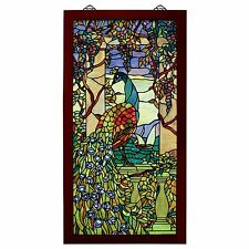 """TF10022 - Peacock With Wisteria Wood-Framed Stained Glass Window - 25"""" x 46"""""""