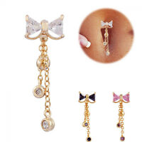 Fashion Jewelry Bow Bar Dangle Navel Ring Belly Button Body Piercing