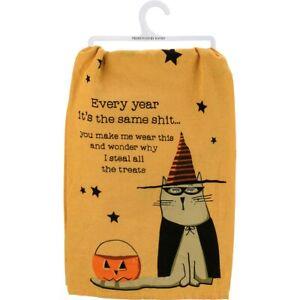 Halloween Steal All The Treats Sassy Cat Kitchen Dish Towel