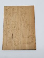 Antique Flemish Art Wood Burning Pyrography Plate Folk Art Grandma Girl Sewing