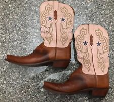 Lucchese 1883 Brown Pink Leather Western Cowgirl Cowboy Boots Womens Size 10 B