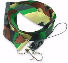 "Army Green Black Tan Camo Camoflauge 15"" Lanyard/Landyard ID Holder Keychain-New"