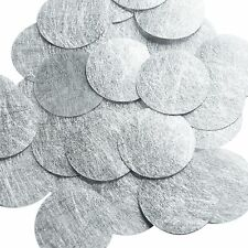 Round Sequin 40mm Silver Silky Fiber Strand Fabric Couture Paillettes
