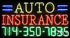 """NEW """"AUTO INSURANCE"""" W/YOUR PHONE NUMBER 37x20 NEON SIGN W/CUSTOM OPTIONS 15041"""
