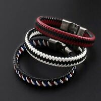 Unisexs Women Men Braided Leather Steel Magnetic Clasp Bracelet Handmade Jewelry