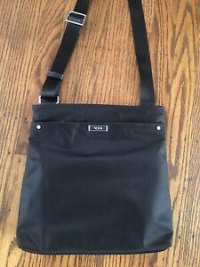 NEW Women's TUMI Black Nylon Leather Trim Crossbody Travel Shoulder Bag Purse
