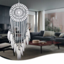 Home Car Wall White Handmade Feathers Dream Catcher Hanging Decoration Gift