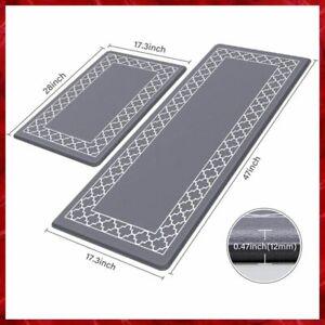 KITCHEN MAT Anti Fatigue Non Slip Floor Rug Memory Foam Set of 2 Grey LUXSTEP