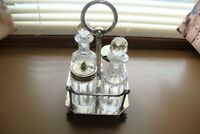 Antique 1870s John Round & Sons Silver Plate Cruet Set EPNS
