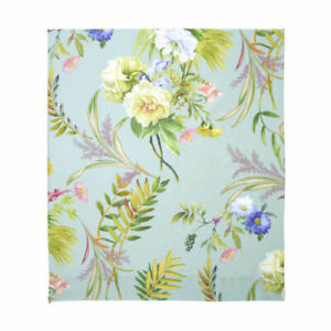 Yves Delorme Bouquets Queen Flat Sheet Floral Green Multi 100% Cotton Sateen NEW