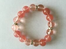 Agate Stone,Faceted Crystal Ball with Crystal Spacer Stretch Bracelet Pink