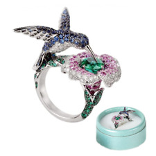 Fashion Creative Flower Hummingbirds Crystal Silver Wedding Ring Gift Jewelry