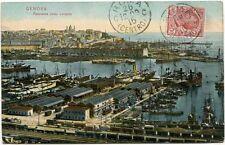 1909 Genova panorama verso Levante Roma Centro navi porto FP COL VG ANIM