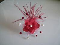 Pic/épingle/bijou Cheveux Mariée/Mariage Ivoire/Bordeaux rouge fleur pas cher