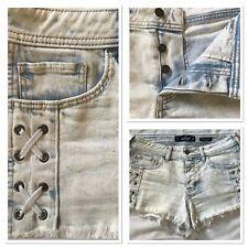 Hollister Denim Shorts 12 W29 Low Rise Boyfriend Vintage Stretch Lace Up Detail