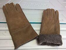 brown ladies women 100% genuine real leather sheepskin gloves mittens winter 1