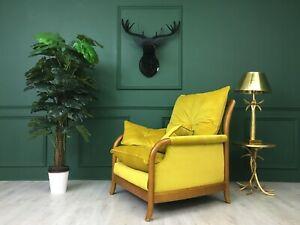 Yellow Vintage Cintique Retro Mid Century  Armchair 1960