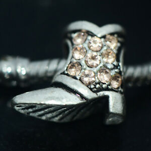 1x Silver Shoes Boot Bead Charm Spacer Fit Eupropean Chain Bracelet Make Jewelry