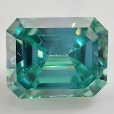 Green Emerald Cut Loose Moissanite For Ring/pendant 3.27 Ct 9.53 x 7.25 Mm Vvs