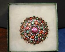 Signed Joan Rivers Domed Flower Pin Rhinestone Brooch Multi-Color Copper