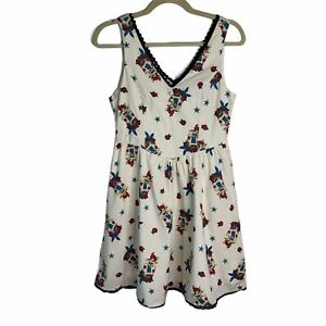 Disney Ariel White Print Lace Trim V Neck Fit And Flare Dress Girls MD 7-9 Years
