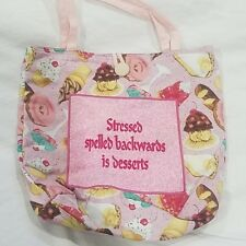 Embroidered Tote Bag - Stressed Spelled Backwards Is...