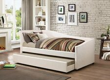 NEW LAYLA SLEEK MODERN STYLE IVORY LEATHERETTE TWIN DAY BED w/ UNDERBED TRUNDLE