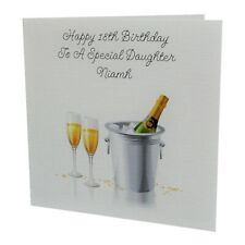 HANDMADE - PERSONALISED Champagne Female Relation Birthday Card