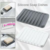 Dish Tray Plate Drain Rack Soapbox Silicone Soap Holder Bathroom Supplies