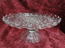 """Cake Stand Pressed Glass Scalloped, Patterned 9 7/8"""""""