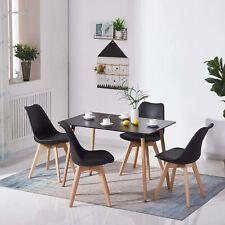 Rechtecki Esstisch Schwarz mit 4 Retro Stühlen Essgruppe Esszimmertisch 110x70cm