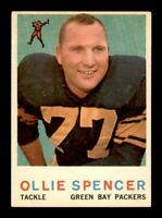 1959 Topps Football Set Break # 129 Ollie Spencer VG-EX Light Crease *OBGcards*