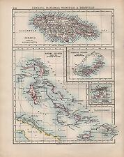 1902 MAP ~ JAMAICA BAHAMAS TRINIDAD BERMUDAS