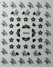 Nail art: Stickers autocollants ongles - papillons coeurs fleurs - noir