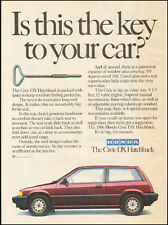 1986 Print ad for Honda The Civic DX Hatchback `red retro car  081517