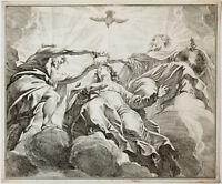 Kupferstich 17. / 18. Jahrhundert Krönung Mariens Maria Muttergottes 39 x 32 cm