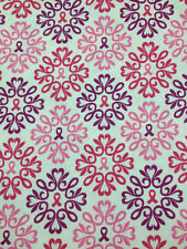 """4ydsx45"""" Ribbons of Hope # 35046 Pink Red Purple Cotton Sew Quilt Fabric Print"""