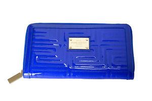 Versace Women's Royal Blue 100% Patent Leather Logo Statement Zip Around Wallet