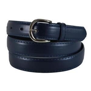"Skinny Plain Leather Belt w/Stitched Edge Solid Jeans Unisex Mens Narrow 15/16"""