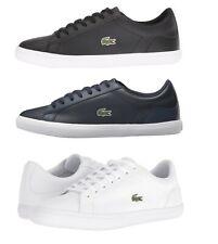 Lacoste Lerond BL 1 Para hombres Informales Zapatos Tenis Mocasín Cuero Negro Azul Blanco