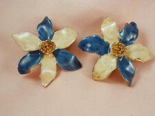 Beautiful Vintage Enamel Flower Earrings  595E