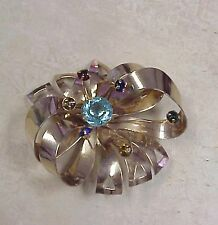 STUNNING GOLD TONE BOW PIN LIKE FLOWER WITH RHINESTONES MULTI-COLORED AS STAMENS