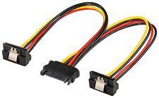 SATA Y Stromkabel Adapter Splitter SATA Stecker 2x Buchse gewinkelt Lasche 20 cm
