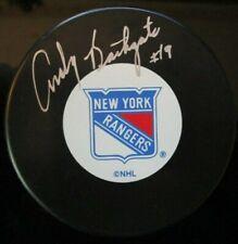 ANDY BATHGATE SIGNED NEW YORK RANGERS HOCKEY PUCK w/ COA